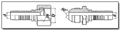 JIS - обратный конус фитинга 60 градусов